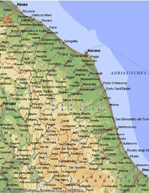 landkarte italien marken Die Marken   Landkarte